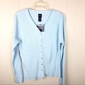 Ramie/Cotton Ribbed V-neck Button Front Cardigan